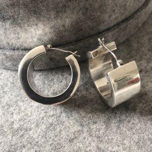 Modernist sterling silver hoop earrings